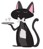 Camarero del gato de la historieta Foto de archivo