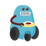 Camarero del robot de la historieta que sirve un plato Imagenes de archivo