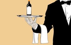 Camarero del vector con el vino Fotos de archivo