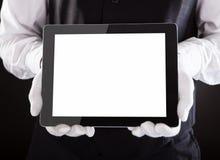 Camarero Holding Digital Tablet Foto de archivo libre de regalías