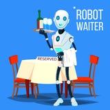 Camarero Holding Tray With Drinks Vector del robot Ilustración aislada libre illustration