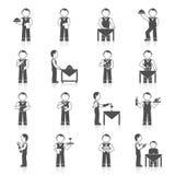 Camarero Man Icon Black Imagen de archivo libre de regalías