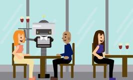 Camarero nacional del robot que lleva una bandeja con los vidrios que sirven a clientes en el restaurante stock de ilustración