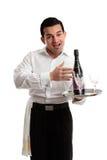 Camarero o camarero jovial Foto de archivo libre de regalías