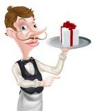 Camarero Pointing del regalo Fotos de archivo libres de regalías