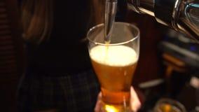 Camarero Pouring Beer en el Pub almacen de video