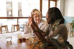 Camarero que habla con los clientes asentados en una tabla de los bistros Fotos de archivo libres de regalías