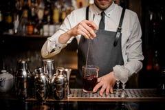 Camarero que revuelve el cóctel alcohólico del verano fresco en vidrio fotos de archivo libres de regalías