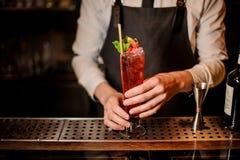 Camarero que sirve un cóctel rojo delicioso del verano imagen de archivo