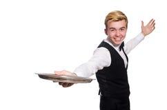 Camarero que sostiene la placa aislada en blanco Foto de archivo