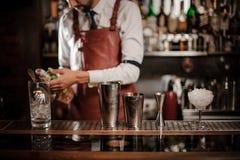 Camarero que sostiene una botella de bebida alcohólica en el contador de la barra imagenes de archivo