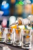 Camarero que vierte alcohol duro en los vidrios imagen de archivo libre de regalías