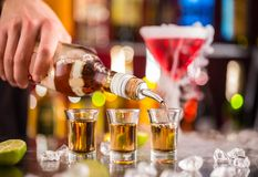 Camarero que vierte alcohol duro en los vidrios fotografía de archivo