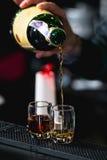 Camarero que vierte alcohol duro en los vidrios detalladamente imagenes de archivo
