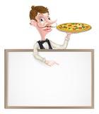 Camarero Sign de la pizza Imágenes de archivo libres de regalías