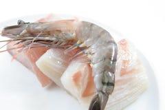 Camarões e carne de peixes frescos Fotografia de Stock Royalty Free