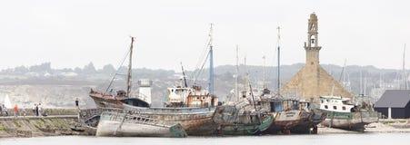 View of Shipwrecks, in Camaret-Sur-Mer. Camaret-Sur-Mer, France - August 17, 2016: View of Shipwrecks, in Camaret-Sur-Mer, Brittany, France Royalty Free Stock Image