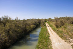 Camargue canal. Landscape in Camargue National Park royalty free stock images