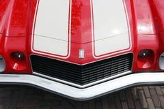 Camaro engine hood with Camaro logo shield stock photos