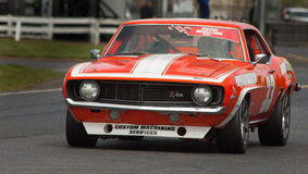 Camaro Muscle Car Racing. Motorsport: The great era of American Muscle Cars is celebrated in race events around the world. This one in New Zealand Royalty Free Stock Photo