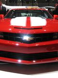 Camaro's face. Close up of a red Camaro at the 81st Geneva Autoexpo in march 2011 Royalty Free Stock Photo