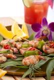 Camarones asados a la parilla, tropicales Imagen de archivo