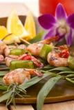 Camarones asados a la parilla, tropicales Fotos de archivo