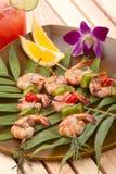 Camarones asados a la parilla, tropicales Imagenes de archivo