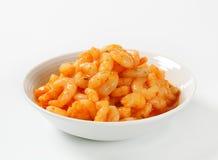 Camarones con la salsa picante Foto de archivo