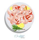 Camarones con romero y el limón en la placa Estilo de la historieta del illustrationin del vector Diseño de producto de los maris Fotos de archivo