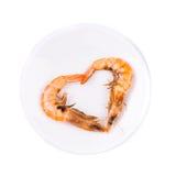Camarones en la forma de corazón Imagenes de archivo