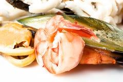 Camarones, mejillones y calamar. Mariscos Fotografía de archivo libre de regalías
