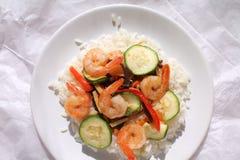 Camarones y arroz Fotografía de archivo libre de regalías