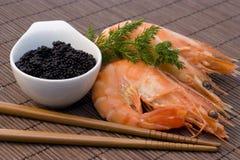 Camarones y caviar Fotografía de archivo libre de regalías