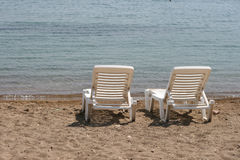 Camas brancas do sol Fotografia de Stock