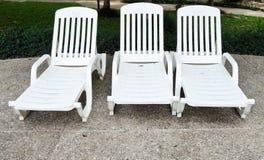 Camas plásticas blancas Foto de archivo libre de regalías