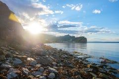 Camas verticais em Perce, a rocha no fundo Foto de Stock Royalty Free