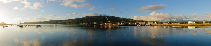 Cambeltown,苏格兰港口全景  免版税库存图片