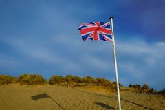 Camber piasków Plażowa flaga fotografia royalty free
