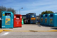 CAMBERLEY ENGLAND, MAJ 05 2016: Wilton Road Recycling Centre Arkivfoton