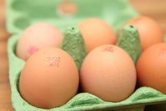 Camberley, UK - 31 Δεκεμβρίου 2016: Καφετιά αυγά στο πράσινο χαρτοκιβώτιο με το βρετανικούς κώδικα καταδίωξης αυγών και το εμπορι Στοκ Φωτογραφία