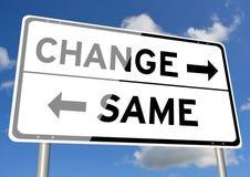 Cambi contro lo stesso cielo del cartello Immagine Stock