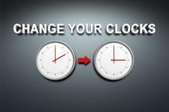 Cambi i vostri orologi Fotografia Stock Libera da Diritti