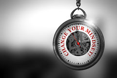 Cambi il vostro Mindset sul fronte d'annata dell'orologio illustrazione 3D Fotografie Stock