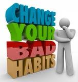 Cambi il vostro pensatore di cattive abitudini che adatta il successo di buone qualità Immagine Stock Libera da Diritti