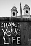 Cambi la via d'avvertimento della chiesa di Chtistianity di vita Immagini Stock
