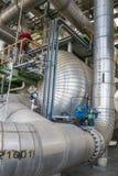 Cambiador de calor en planta de refinería Imagen de archivo libre de regalías