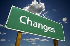 Cambiamenti - segnale stradale Fotografia Stock