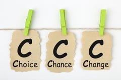Cambiamento Choice ccc di probabilità fotografie stock