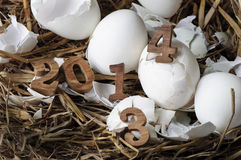 2013 cambiamento a 2014, concetto delle uova Fotografie Stock Libere da Diritti